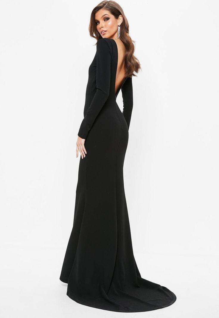 Missguided - Vestido largo con espalda abierta en negro